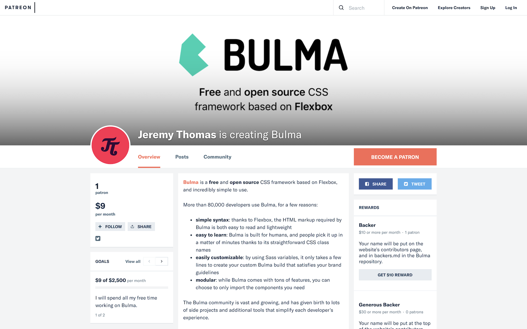 Bulma Patreon homepage